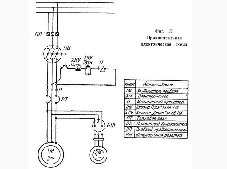 Схема электрическая принципиальная токарного станка 1615